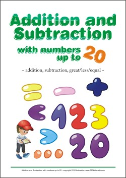 Addition and Subtraction with numbers up to 20 Worksheets