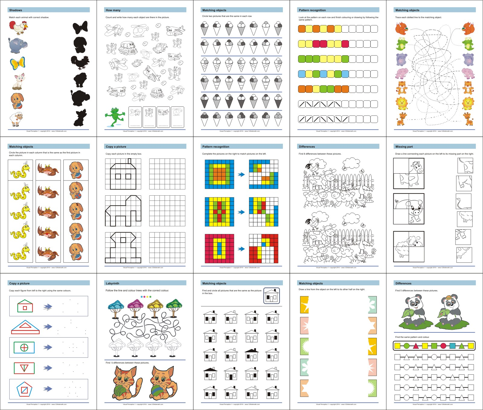 Printable workbooks fun and learn activities for kids visual perception activities visual motor skills visual closure worksheets robcynllc Image collections