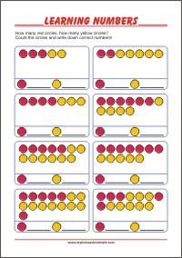 Learning Numbers - Free Printable Preschool Worksheet