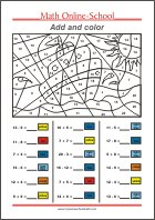 Add and Color - Math Worksheets 1st Grade