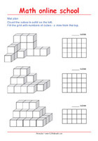 Draw the mat plan of a multiple cube solid - Math 3rd Grade