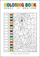 Printable Math Coloring Pages - Calculate and Color by Numbers