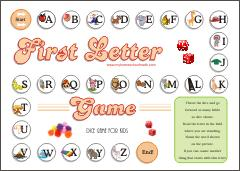 First Letter Game - Dice learning game for kids