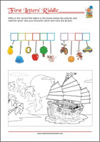 First Letter Riddle - Learning letters and reading worksheet for preschool and kindergarten