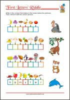 First Letter Riddle - Free Printable Worksheet