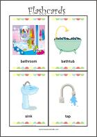 In the bathroom - Free printable flash cards for fun preschool learning
