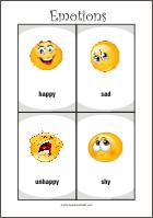 Emotions - Free printable flash cards for fun preschool learning