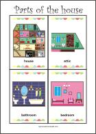 Parts of the house - Free printable flash cards for fun preschool learning