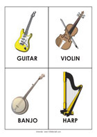 Printable sight-words flash cards - Instruments