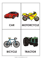 Printable sight-words flash cards - Vehicles
