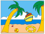 Online Puzzle Game - Palm and Boat