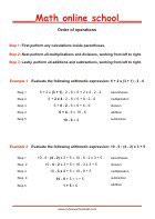 Order of operations - Math Worksheets 3rd Grade