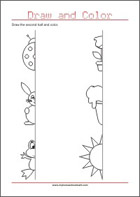 Draw the other half - Pre-Handwriting Worksheet