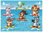 Online Jigsaw Puzzle - Dogs Surfing