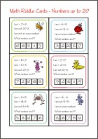Math Riddle Cards - Mystery number game
