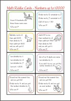 Math Riddle Cards - Math Worksheets 4th Grade