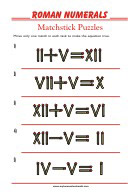 Learning Roman numerals - Puzzle Matchsticks - Math 3rd Grade