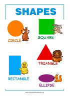 Learning Shapes - Math Poster for Kindergarten and Primary School