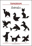 Tangram Animals - Worksheets with solutions - try to solve the puzzle shapes