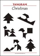 Tangram Christmas - Worksheets with solutions - try to solve the puzzle shapes