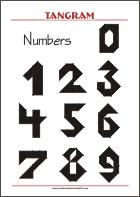 Tangram Numbers - Worksheets with solutions - try to solve the puzzle shapes