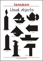 Tangram Objects - Worksheets with solutions - try to solve the puzzle shapes
