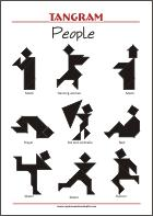 Tangram People - Worksheets with solutions - try to solve the puzzle shapes