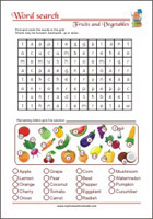 Word Search Worksheet - Fruits and Vegetables